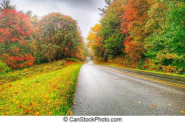 azul, outono, parkway, cume, conduzir