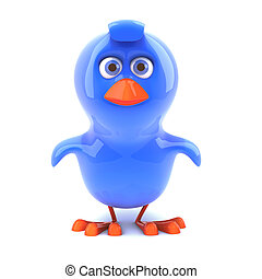 azul, pájaro,  3D