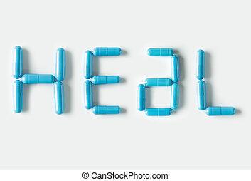 azul, píldoras, cápsulas, en forma, de, palabra, heal., vida, concepto, isolated.