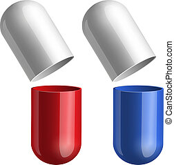 azul, píldoras, rojo