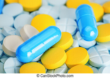azul, pílulas, ligado, um, grupo, médico, pílulas