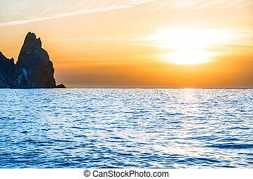 azul, pôr do sol, acima, mar