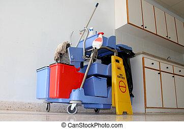 azul, público, lugares, limpieza, equipme