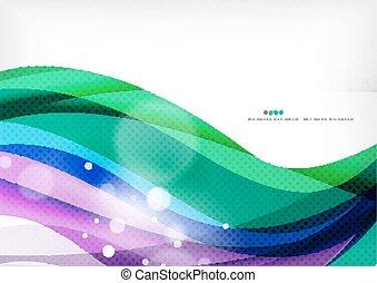 azul, púrpura, línea, fondo verde