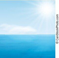azul, pacata, mar, paisagem, oceânicos
