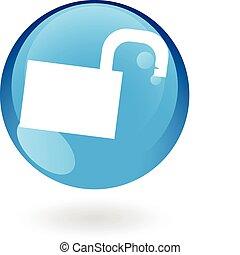 azul, padlock, abertos, lustroso