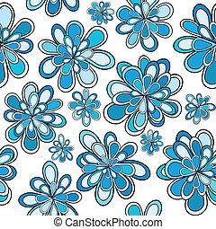 azul, padrão, abstratos, flores, seamless