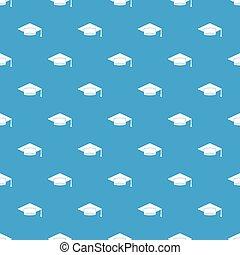 azul, padrão, boné, seamless, estudante