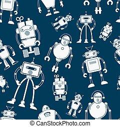azul, padrão, branca, robô, seamless