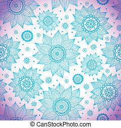 azul, padrão, girassol