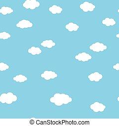 azul, padrão, nuvens brancas