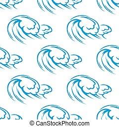 azul, padrão, oceânicos, seamless, ondas