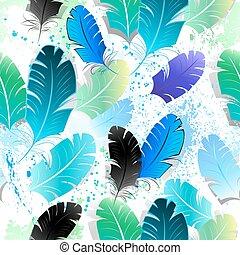 azul, padrão, penas, seamless