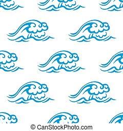 azul, padrão, seamless, mar, ondas