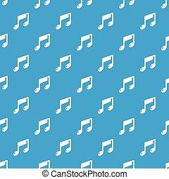 azul, padrão, seamless, nota, vetorial, música