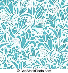 azul, padrão, seamless, silhuetas, fundo, lírio