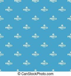 azul, padrão, seamless, vetorial, navio, pirata