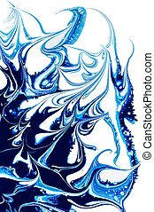 azul, padrões, abstratos, isolate., pintura, experiência., branca, esguichos