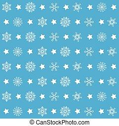 azul, padrões, natal, snowflakes
