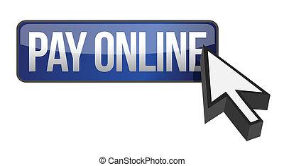 azul, pagar, botão, cursor, online