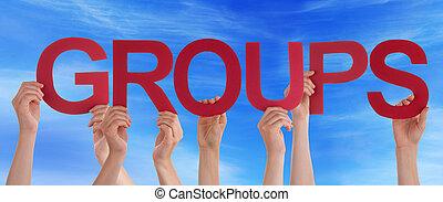 azul, palabra, derecho, cielo, grupos, manos, asimiento,...