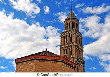 azul, palacio, campana, diocletean's, cielo, plano de fondo, torre