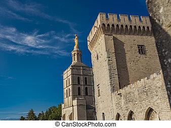 azul, palacio, cielo, avignon, luego, papal, debajo, ...