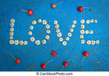 azul, palavra, escrito, fundo, margarida, amor, flores