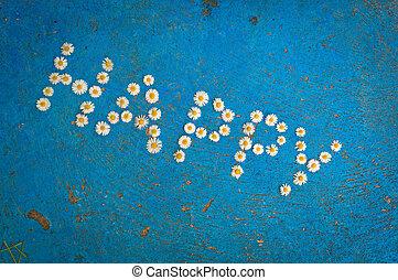 azul, palavra, escrito, fundo, margarida, flores, feliz