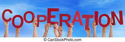 azul, palavra, segurando, pessoas, muitos, céu, cooperação,...