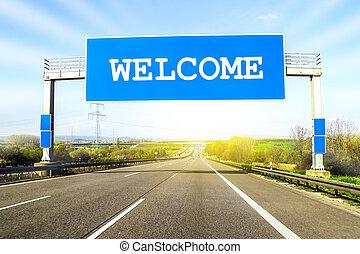 azul, palavra, sobre, bem-vindo, ensolarado, aquilo, sinal, auto-estrada, dia, estrada