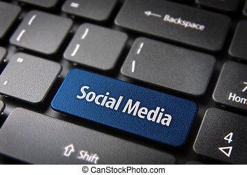 azul, palavras, mídia, teclado, tecla, social