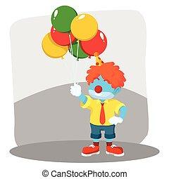 azul, palhaço, segurando, balões
