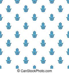 azul, palma, com, olho, padrão