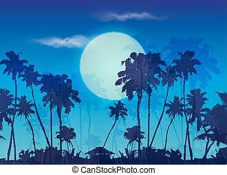 azul, palmas, grande, siluetas, luna, fondo oscuro, crepúsculo, paisaje