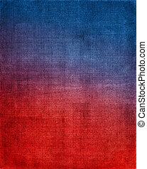 azul, pano, experiência vermelha