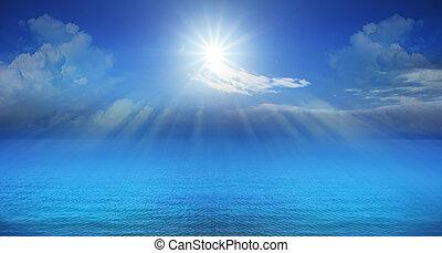 azul, panorama, brillar, cielo, sol