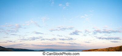azul, panorama, cielo, salida del sol