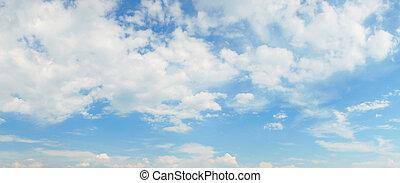 azul, panorama, nubes, cielo
