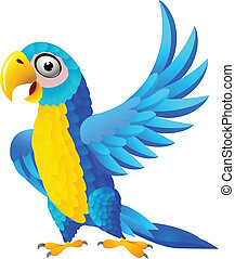 azul, papagallo, caricatura