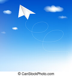 azul, papel, céu, avião