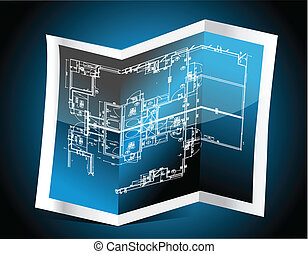 azul, papel, com, desenho técnico