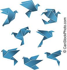 azul, papel, palomas y palomas, en, origami, estilo