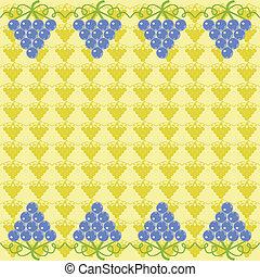 azul, papel parede, uva, amarela