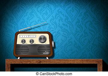 azul, papel pintado, madera, radio, retro, plano de fondo,...
