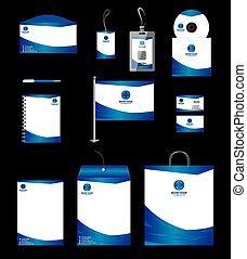 azul, papelaria, negócio, modelo