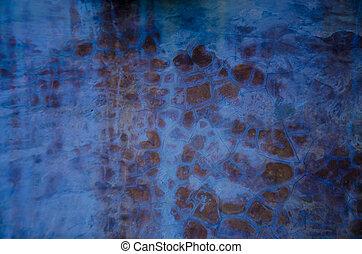 azul, parede, cimento, textura, fundo