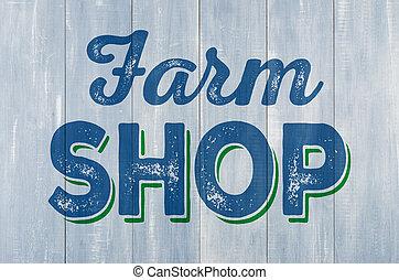 azul, parede madeira, com, a, inscrição, loja fazenda
