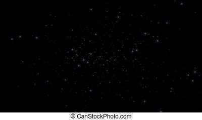 azul, partículas, voando, em, universo
