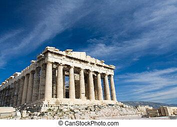 azul, parthenon, antiga, céu, atenas, fundo, grécia, fachada...